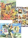 timbres d'art pour la collection de timbres - Une collection d'œuvres d'artistes Eugène Delacroix, Pablo Picasso et Renoir - 12 timbres neufs sur 3 feuillets de timbres - sans charnière et ne jamais être monté....