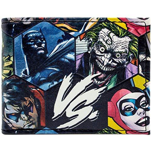 Cartera de DC Villains Villanos vs. Héroes En Relieve Negro