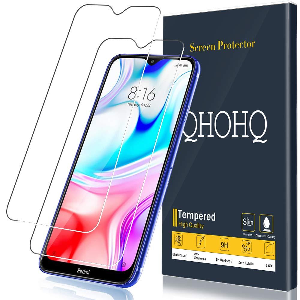 QHOHQ [2 Unidades] Protector de Pantalla para Xiaomi Redmi 8, Redmi 8A,[9H Dureza] HD Transparente Resistente Arañazos [No Burbujas] Vidrio Templado