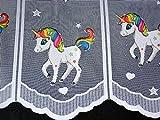 Scheibengardine Einhorn Höhe 50cm | Breite der Gardine frei wählbar in 16cm Schritten | Kinderzimmer Gardine | Panneaux Unicorn multicolor
