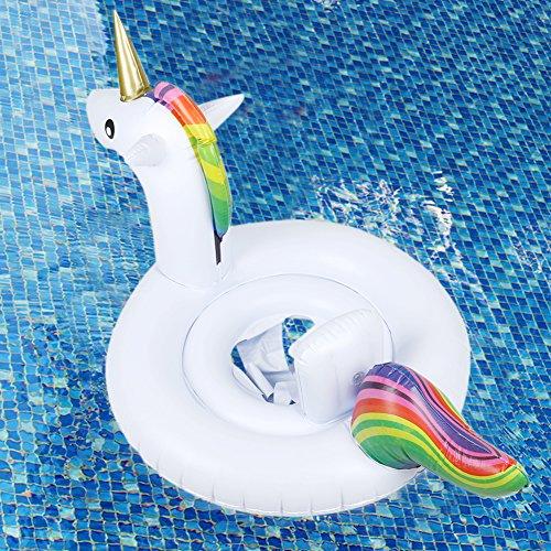 lasbare Schwimmen Boot Schwimmer Ring Floatie Fahrt auf Rideable Blow Up Sommer Spaß Pool Spielzeug Liege Floatie Raft für Kinder (Weißes Einhorn) (Blow Up Tiere)