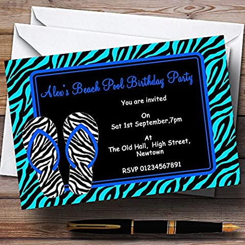 Blue Flip Flop Beach Pool Swimming Theme Personalised Birthday Party Invitations / Invites & Envelopes