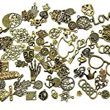Kebinfen 100 Gram (Approx 70 pcs) Assorted Antique Charms Pendant for Crafting, Jewelry Making Accessory (Bronze)