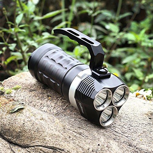 Sofirn Tauchen Taschenlampe 3000ml LED Unterwasser 70m Unterwasserfackel Lampe Cree XPL Wasserdicht Submarine Licht Lampe, 3 LEDs mit 3 Modi, 4 Wiederaufladbare 18650 Batterien (nicht enthalten)