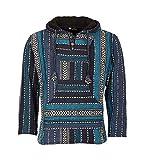 Kunst und Magie Nepal Baja Jerga Sweatshirt Poncho mit Fleecefutter Kapuze, Größe:S, Farbe:Petrol