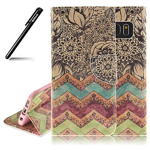 Hülle Galaxy S7 Edge,BtDuck Lederhülle mit Silikon Back Cover Case Tasche Hülle für Samsung Galaxy S7 Edge PU Leder Handytasche - Retro Blume