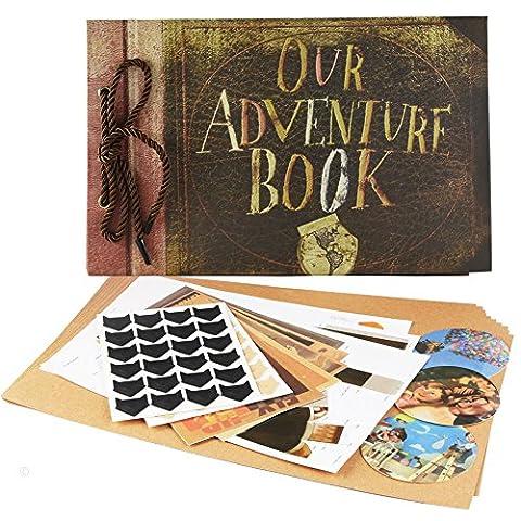 Our Adventure Book Fotoalbum groß Jahrestag Scrapbook 40 Blatt mit extra 10 Blatt Refill Seiten 5 Postkarten und 2 DIY Foto Ecke Aufkleber 29,5 x 19,1 cm Our Adventure Book