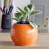 Ugaoo Football Ceramic Pot (Orange)