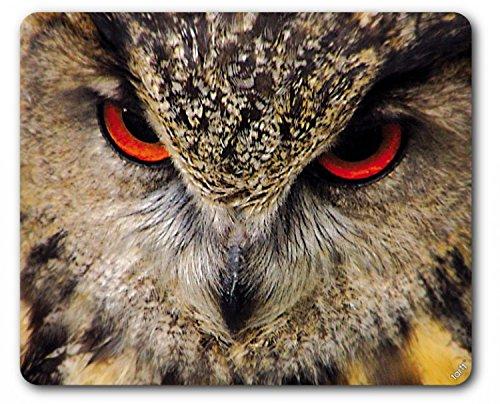 Búhos - Búho Con Ojos Rojos Alfombrilla Para Ratón (23 x 19cm)