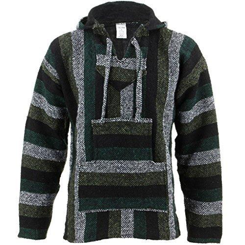 Siesta Mexicano Baja Jerga con capucha hippie jersey - Minty verde - sintético, Minty verde, 50% algodón n50% algodón 50% de acríliconorigin 50% de acrílico, Unisex, XX-Large