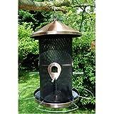 Vogelfutterstation Ø17x30cm Metall Kupfer Futterstation Vogelfutterspender