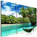 decomonkey | Bilder Strand 120x80 cm | 3 Teilig | Leinwandbilder | Bild auf Leinwand | Vlies | Wandbild | Kunstdruck | Wanddeko | Wand | Wohnzimmer | Wanddekoration | Deko | Landschaft Meer Natur