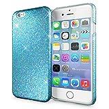 NALIA Handyhülle für iPhone 6 6S, Glitzer Slim Hard-Case Back-Cover Schutz-Hülle, Handy-Tasche im Glitter Sparkle Design, Dünnes Bling Strass Etui Skin für Apple iPhone-6S 6 Smartphone - Türkis