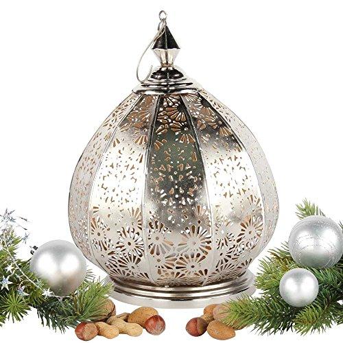 albena shop 71-5242 orientalisches Windlicht Laterne Metall (Saloni 31cm Silber/innen Gold)