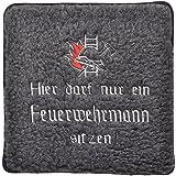 Schurwoll-Sitzkissen mit Einstickung - Hier darf nur ein Feuerwehrmann sitzen - 30034 - Gr. ca. 50x50cm