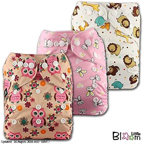LittleBloom Panno Pannolini Lavabili Tasca Pannolino Riutilizzabile, Di Fissaggio: POPPER, Set Di 3