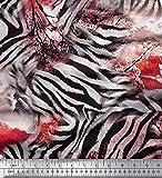 Soimoi Orange schwere Leinwand Stoff Baum & Zebra Tierhaut