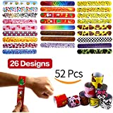 Bracelets Party, 52 Pack Slap Bracelets (26 Design), Yeonha Toys Slap Bands With Colorful Hearts, Emoji, Peace, Animal Prints Toys Party Favors Birthday School Classroom Prize For Kids Boys Girls Adults