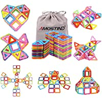AMOSTING Magnetic Building Blocks Toys for Toddlers & older Childrens Educational Toys, STEM Magna Tiles Real Construction Kit(Square, Triangle) Brain Games for Kids