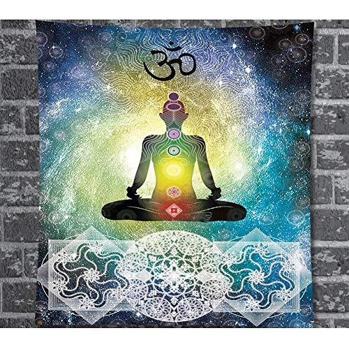 Indische Mandala Yoga Chakren Wandteppich Bunte Zen Meditation im Weltraum Wandbehang Tapisserie Ethnische Reaktive Om Wanddecke für Schlafzimmer Wohnzimmer Wohnheim Dekor 59 * 79in -