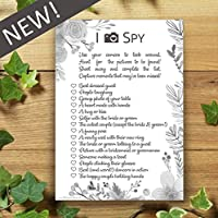 I Spy Camera Selfie Game - 10 Pack - Wedding Cards - Flower Leaf Design - Favours