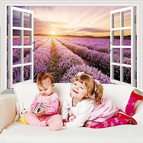 Romote Ventana Púrpura Provenza Lavanda Paisaje Pared 3D Pegatina en Vinilo Mural del Arte para los Cabritos Sitio de la Sala de Decoración