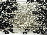 Perlen-Nadeln Deko-Nadeln 6mm 100 Stück viele verschiedene Farben (SCHWARZ)