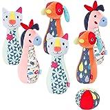 Fehn 055498 - Gioco conico Color Friends – Set da bowling in materiale morbido con diversi suoni – per neonati e bambini a pa
