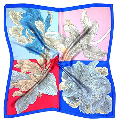 Bees Knees Fashion Pink Blue Flowers Dicker Seide Square Schal