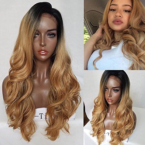 d Spitze vorne Perücke lang gewellt Perücken für Frauen 2Tone Black Wurzeln Synthetik, welliges Haar Perücke 66cm (Two Tone Perücken)