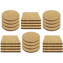 COM-FOUR® 24x Posavasos de paja y maceta Conjunto de corcho, cada uno de 12 cuadrados y redondos (24 piezas - angular / redondo)