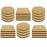 COM-FOUR 24x Bevanda e sottobicchiere Set di sughero, ogni 12 quadrati e rotondo (24 pezzi - angolare/rotondo)