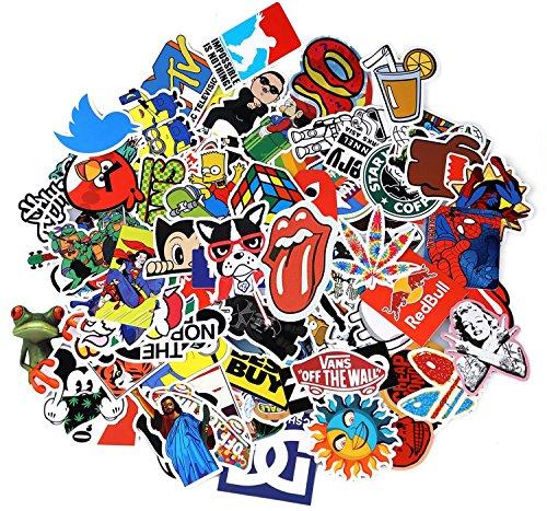 Neuleben Aufkleber Pack [100-pcs] Graffiti Sticker Decals Vinyls für Laptop, Kinder, Autos, Motorrad, Fahrrad, Skateboard Gepäck, Bumper Sticker Hippie Aufkleber Bomb wasserdicht (Serie-1) (Rock-star-logos)
