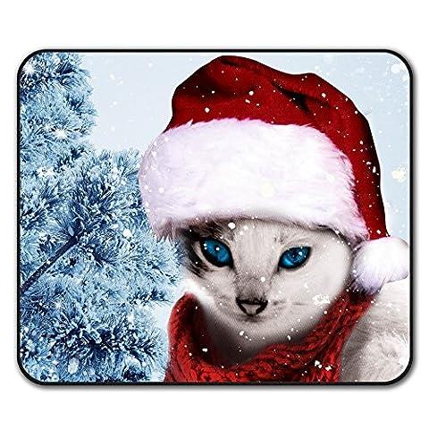 Chat Mignonne Drôle Noël Père Noël Antidérapant Tapis de Souris