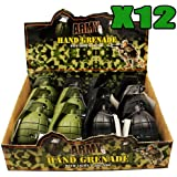 12 x TOY HAND GRENADES WITH REALISTIC SOUND & LIGHT IN GREEN AND BLACK IN DISPLAY BOX ARMY by The Online Stores