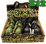 12 x TOY Handgranaten mit realistischen SOUND & LIGHT IN grün und schwarz in DISPLAY BOX ARMY