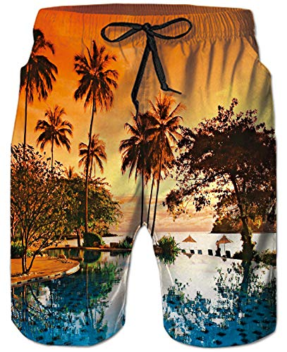 Goodstoworld Männer Shorts 3D Hawaii Beach Druck Kurze Hose Badehose Freizeithose Jogginghose Sporthose Trainingshose Jogger Sweatpants Herren Shorts Badeshorts XXL -