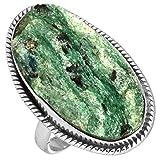 Solido 925 Sterling Argento Elegante Gioielli Naturale Verde Fuchsite Mica Pietra preziosa Anello Dimensioni 14