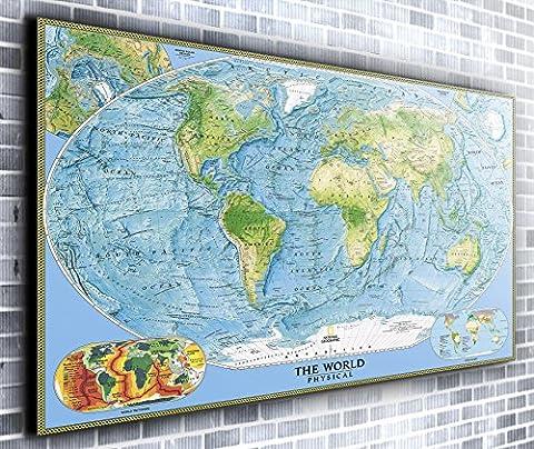Carte du monde Décor mural panoramique encadrée Impression sur toile Art mural XXL 139,7x 61cm de plus de 1,4m de large x 0,6m haute prête à suspendre Impression sur toile–Paysage Photographie–Art moderne