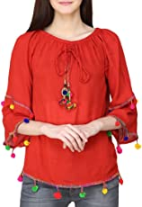 Fablab Tops for Women_ Girls_New Fashion_Western wear_for Jeans_Combo of-1_Red.