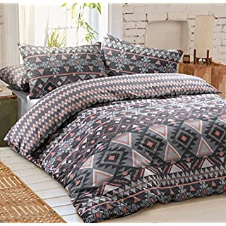 PIERIDAE Navajo Aztec Grey Reversible Quilt Duvet Cover Set + PillowCases (Double).