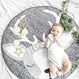 Nordic Ideas Tapis de Jeu Bebe Animaux Cerf Coton Rond Tapis éveil Bébé Fille Garçon Decoration Chambre Enfant...