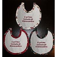 Crociedelizie, Bavaglino bavetta neonato natalizia primo Natale di + ricamo nome personalizzato