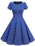 Dresstells Damen Vintage 50er Rockabilly Kurzarm Swing Kleider Partykleid Royal Blue Small White Dot XS