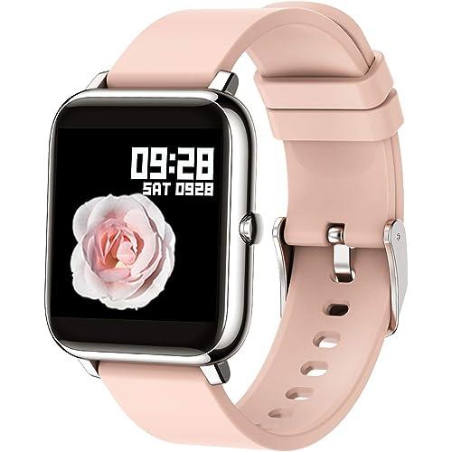 Popglory Smartwatch Orologio Fitness Uomo Donna Smart Watch con Saturimetro (SpO2)/Misuratore Pressione/Cardiofrequenzimetro Impermeabile IP67 Orologio Sportivo con Notifiche Messaggi per Android iOS