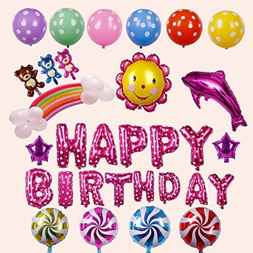 homeyou Süßer Geburtstag Party-Deko-Set–Bunte Happy Birthday Ballon Buchstaben Banner, 2PCS violett Mylar-Folie Star, bunt, Latex Luftballons, Delphin, Sonne Blume Wonderful Birthday Party Supplies rose (Polka Dot Ballons Pink)