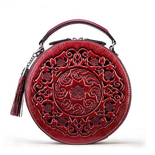 XIAOLONGY Leder Umhängetasche Damen Wildleder Tasche Eine Schulter Zylindrische Handtasche Kleine Runde Tasche,Chinesered (Handtasche Schulter-stil Tasche)