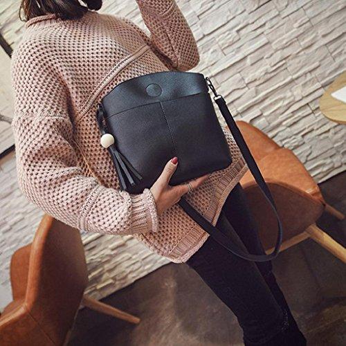 2017 Kangrunmy Borsa in pelle nappa donne borse del corpo della traversa borse a spalla borsa Messenger Nero
