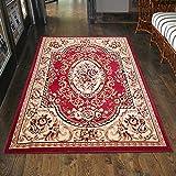 Klassischer Orientteppich & Perserteppich mit Orientalisch Ornamente Muster Kurzflor in Rot / TOP Preis - ÖKO TEX (60 x 100 cm)