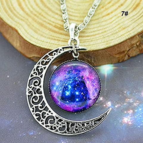 5starwarehouse® Galaxy Pendant Silver Necklace Stars Colourful Glass Hollow Crescent Moon Space - With 5star Cloth